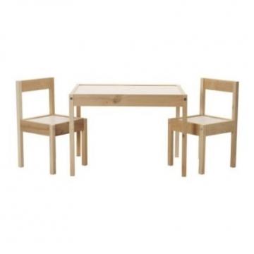 IKEA LÄTT Kindertisch mit 2 Stühlen, weiß, Kiefer -