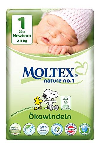 Moltex Nature No. 1 Ökowindeln, Größe 1 (Newborn), 2-4 kg, (1 x 23 Windeln) -