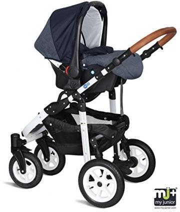 My Junior+® Miyo 3in1 Kombikinderwagen Komplettset bis zum 4.Lebensjahr---3 Years Guarantee---+Autositz (11-Teile-Megaset) Premium Kinderwagen (Jeans-Blue White Edition) -
