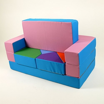 Spielsofa 4in1 Kindersofa Spielmatraze für das Kinderzimmer Spielpolster Softsofa rosa/hellblau Puzzle Kinderzimmersofa Spieltisch Kindermöbel -