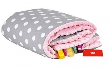 BABYLUX Babydecke Kuscheldecke Krabbeldecke MINKY PLÜSCH Decke 75 x 100 cm (15. Rosa + Graue Punkte) -