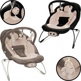 Babywippe / Babyschaukel (Abnehmbarer Spielbogen mit 3 Figuren) Mit Vibration & Musik (12 Melodien) (SCHWARZ / BEIGE) -