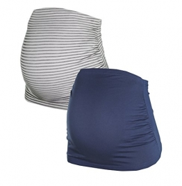 Bauchband für Schwangere im Doppelpack von HERZMUTTER, 6000 (Blau/Grau-gestreift, M) -