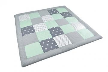 BEBILINO ® Baby Krabbeldecke Spieldecke & Laufgittereinlage groß und weich gepolstert MINT GRAU (120 x 120 cm) -
