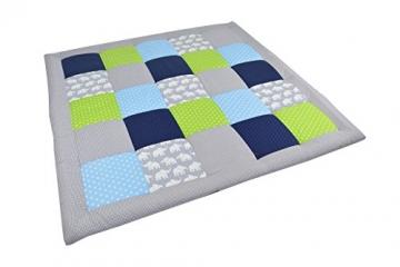 BEBILINO ® Baby Krabbeldecke Spieldecke & Laufgittereinlage groß und weich gepolstert ELEFANT (120 x 120 cm) -