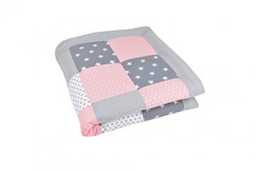 BEBILINO ® Baby Krabbeldecke Spieldecke & Laufgittereinlage groß und weich gepolstert ROSA GRAU (100 x 100 cm) -
