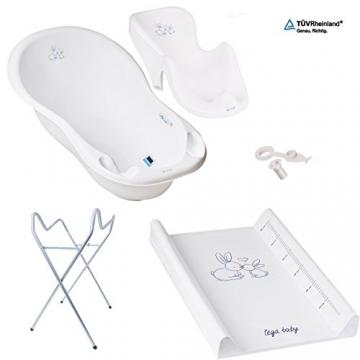 GoFuture Babybadewanne (86cm) luxus mit Stöpsel 5 Teilig - Badewanne Badesitz Ständer Wickelunterlage (5-Set , Premium Ständer, Häschen - white) -