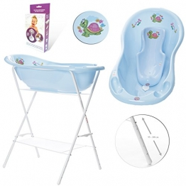 GoFuture Babybadewanne + höhenverstellbarem Ständer + Badesitz + Abflussset (Abfluss, Schlauch) - Happy Schildkröte in Blau -