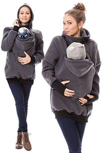 GoFuture Damen Tragejacke für Mama und Baby Känguru Klassiker VIVA GF2301XG4 Graphit Gr. 40 -