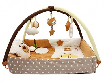 Krabbeldecke / Nest mit Spielbogen (braun) -