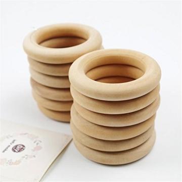 Mamimami Home Baby Teether Holz Teether Ringe Runde - 1.6 Zoll Kleine unfertige Holzringe für DIY Baby Teether Spielzeug -