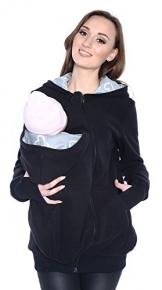 Mija - 3in1 Tragejacke, Umstandsjacke / Fleece Tragepullover für Tragetuch für Babytrage 4018A (L / 40, Schwarz) -