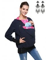 MODETREND Damen Tragejacke für Mama und Baby 3in1 Känguru Jacke Mutterschaft Kapuzen-Sweatshirt Multifunktions-Frauen-Strickjacke-Oberbekleidung Umstandsjacke -