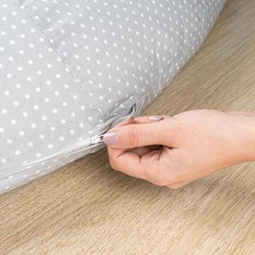 Stillkissen & Lagerungskissen - Punkte Grau - 180 cm | EPS Perlen (schadstoffgeprüft), Bezug bei 40° C maschinenwaschbar -