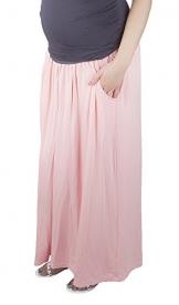 Umstandsrock mit Bauchband Maxi - Umstandsrock 3048A (S / M, Coral Pink) -