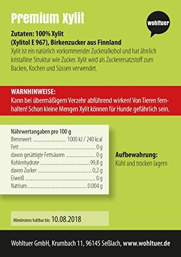 Wohltuer Birkenzucker aus Finnland Xylit | Glutenfrei, Cholesterinfrei, Kalorienarm | Low Carb Food | Vegetarisch und Vegan | vielseitiges Lebensmittel in geprüfter Premium-Qualität (500g) -