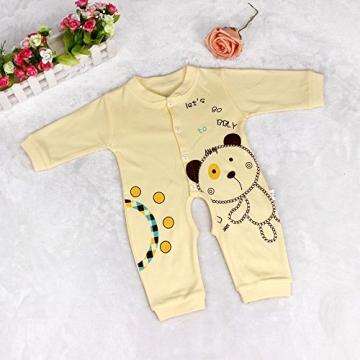Amcool Schön Baby Outfit Weich Spielanzug Overall Kinder Junge Mädchen Säugling Bodysuit Babykleidung (0-2 Monatlich, Gelb) -
