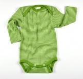 Baby-Body Langarm, Bio Wolle/Seide, grün geringelt/gestreift, Gr. 86/92 -