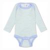 Baby Body langarm, Wolle & Seide, Engel Natur, Gr. 50/56, Bleu geringelt -