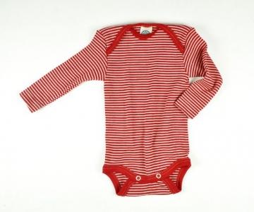 Baby-Body Langarm, Wolle/Seide, rot geringelt/gestreift, Gr. 50/56 -