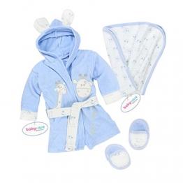 Baby Erstausstattung Set: Bademantel Kapuze Badetuch Schuhe Gürtel mit süßer Tier Applikation Giraffe aus 100% Baumwolle Badeponcho Jungen Kleinkind Säugling Babyparty Babykleidung -