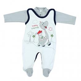 Baby Strampler mit Spruch I love Mum and Dad oder mit Aufdruck 2-tlg. Stramplerset mit Oberteil, Farbe: Dino Grau, Größe: 62 -