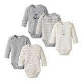 BORNINO 5er-Pack Bodys langarm Baby, Größe 62/68, grau -