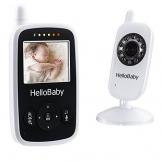 HelloBaby HB24 Drahtloser Video baby Monitor mit Digitalkamera, Nachtsicht-Temperaturüberwachung u. 2 Weise Talkback System EU Plug(Weiß) -