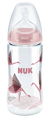 NUK 10216182 First Choice Plus PA-Flasche, 300 ml, mit Silikon-Trinksauger, Größe 6-18 Monate, M, rot -