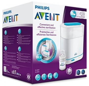 Philips Avent SCF285/02 elektrischer 3-in-1 Sterilisator inklusiv 1x Flasche 125 ml und 1x Schnuller -