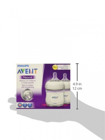 Philips Avent SCF690/27 Anti-Kolik Naturnah-Flasche 125 ml, 2er-Pack, transparent -
