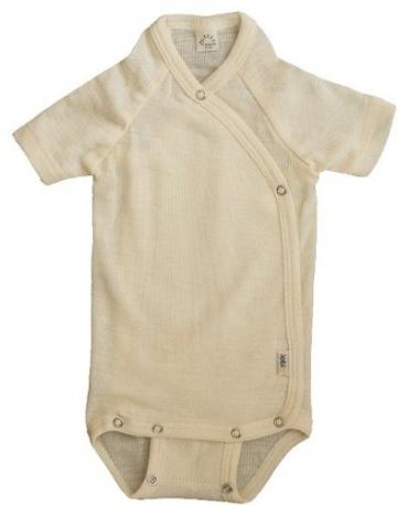 Popolini Iobio Baby Wickelbody mit kurzen Armen, Größe 74/80, 70% Wolle 30% Seide Wollbody -