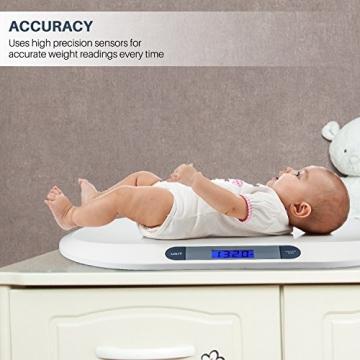 Smart Weigh Digitale Babywaage mit großem hintergrundbeleuchteten LCD-Display, 3 Wägemodi und Tara-Funktion, 20 kg/44 lb -