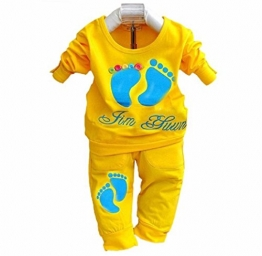 Tonsee Frühling Herbst Sets Kinder Jungen Baby Kleidung Girls Kids Marke Sport Anzüge Jogginganzüge Baumwolle Langarm-Shirt + Hose 2ST (0-6 M, gelb) -