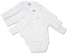 Twins Unisex Baby Langarm-Wickelbody aus Bio Baumwolle im 3er Pack, Gr. 56, Elfenbein (Snow White 110602) -